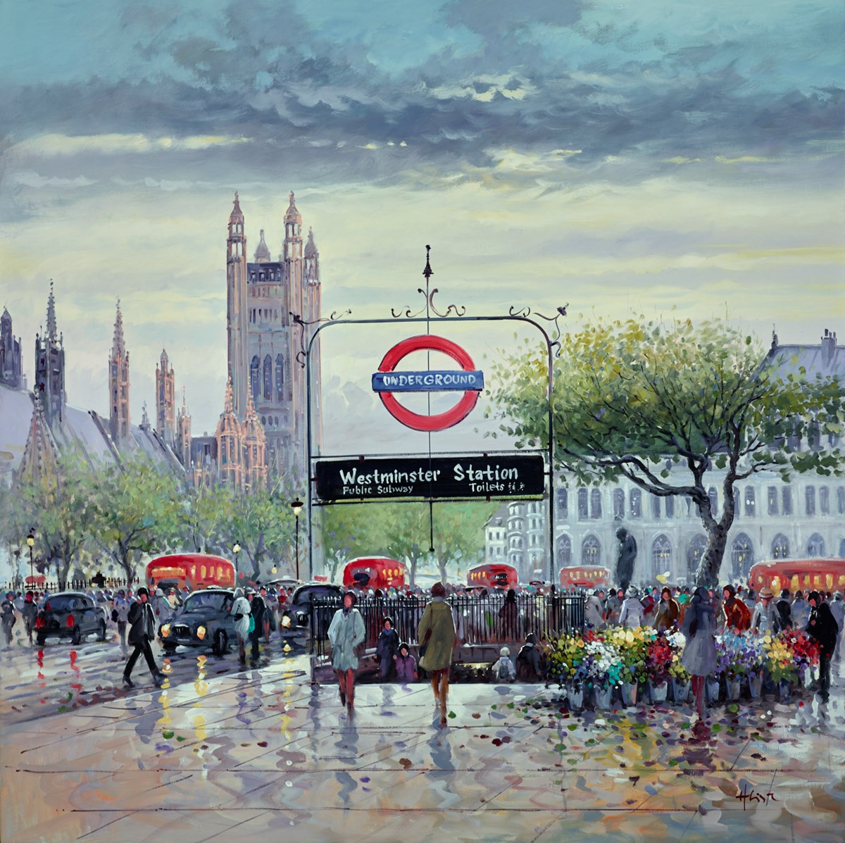 At Westminster Station by henderson cisz -  sized 40x40 inches. Available from Whitewall Galleries